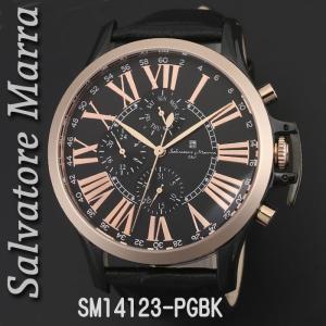 送料無料 腕時計メンズ Salvatore Marra サルバトーレマーラ メンズ 腕時計 多軸 リューズカバー付 革ベルト クォーツ SM14123-PGBK|jackal