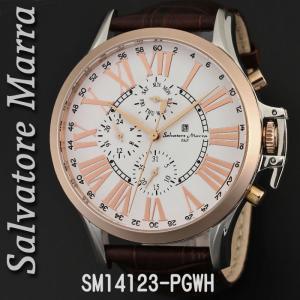 送料無料 腕時計メンズ Salvatore Marra サルバトーレマーラ メンズ 腕時計 多軸 リューズカバー付 革ベルト クォーツ SM14123-PGWH|jackal