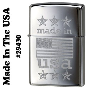 zippo(ジッポーライター)Made In The USA With American flag 29430 high polish chrome|jackal