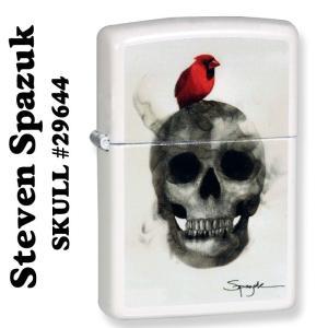 zippo(ジッポーライター) スカル Spazuk ファイアーペイント SKULL ジッポー ホワイトマット #29644|jackal