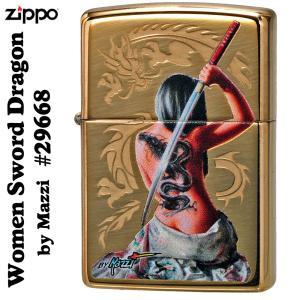 父の日 zippo(ジッポーライター)Women Sword Dragon by Mazzzi 刀 ...