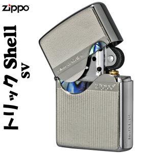 父の日 zippo(ジッポーライター)トリックシェルジッポ メタルプレート天然貝貼り シルバー SV...