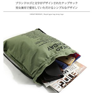 CHEAP MONDAY/チープマンデー ジムバッグ Rapid gym bag Army logo 0514395-S|jackpot|04