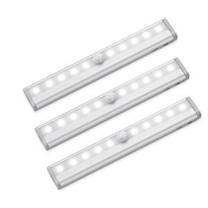 【3個セット】センサーライト人感センサー LEDライト マグネット付き 電池式 10 LED ワイヤレス 貼り付け型 防犯 風呂場 廊下 階段 光センサー|jackyled