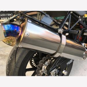 JagerLauft差込φ60.5TJCチタンオーバルサイレンサー φ118相当 ワンオフ 手作り テトラジェット サイレンサー バイク マフラー|jagerlauft