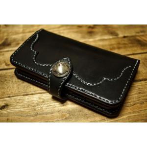 サドルレザーiPhone 11Proケース 横開きブラックD(iPhone 11での製作も可)|jaindiana