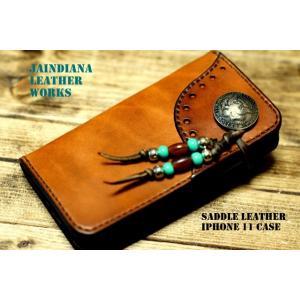 手染めのサドルレザーiPhone 11ケース ビンテージライトブラウン(iPhone 11proでの製作も可)|jaindiana