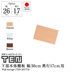 【専用オプション品】 天井つっぱりラックTEN専用 下部本体用棚板 幅30cm奥行17cm 日本製 jajan-a