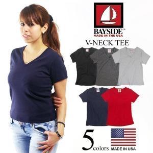 ベイサイド BAYSIDE Vネック Tシャツ (アメリカ製 米国製 V-NECK TEE レディース 無地)|jalana