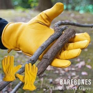 【クーポン配布中】ベアボーンズ BAREBONES クラッシックワークグローブ ユニセックス XS-XL レザーグローブ 革手袋 アウトドアグローブ ガーデングローブ キャ|jalana