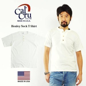 カルクルー Cal Cru 半袖ヘンリーネックTシャツ ホワイト MADE IN USA (HENLEY NECK アメリカ製 米国製 無地 ヘビーオンス)|jalana