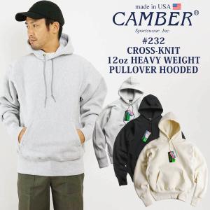 キャンバー CAMBER 232 クロスニット プルオーバーフード | メンズ スウェット パーカー MADE IN USA アメリカ製 米国製 トレーナー グレー ブラック 黒 12オン|jalana