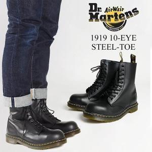 ドクターマーチン Dr. Martens 1919 10ホール ブーツ スチールトゥ ブラック (10EYE BOOT 編み上げブーツ メンズ レディース)|jalana