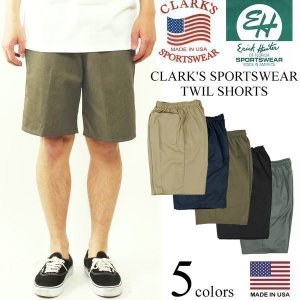 クラークス スポーツウエア(エリックハンター)  ツイルイージーショーツ (アメリカ製 米国製 バギーショーツ チノショーツ CLARK'S ERICK HUNTER)|jalana