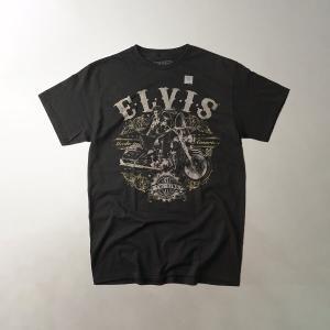 FEA Merchandise 半袖Tシャツ エルビスプレスリー モーターサイクル ブラック(ELVIS PLESLEY MOTORCYCLE バンドT)|jalana