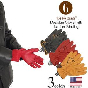 ガイヤーグローブ GEIER GLOVE #250ES ディアスキングローブ レザービンディング (米国製 アメリカ製 Deerskin Glove with Leather Binding 革手袋)|jalana