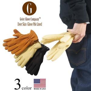 ガイヤーグローブ GEIER GLOVE #204ES ディアスキン レザーグローブ パイルライン  (米国製 アメリカ製 Deerskin Glove Pile Lined 革手袋)|jalana