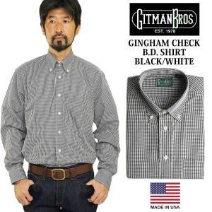 ギットマン ブラザーズ Gitman Bros. ギンガムチェック ボタンダウンシャツ ブラック/ホワイト (米国製 GINGHAM CHECK B.D. SHIRT 長袖)|jalana