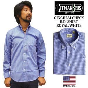 ギットマン ブラザーズ Gitman Bros. ギンガムチェック ボタンダウンシャツ ロイヤル/ホワイト (米国製 GINGHAM CHECK B.D. SHIRT 長袖)|jalana