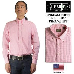 ギットマン ブラザーズ Gitman Bros. ギンガムチェック ボタンダウンシャツ ピンク/ホワイト (米国製 GINGHAM CHECK B.D. SHIRT 長袖)|jalana