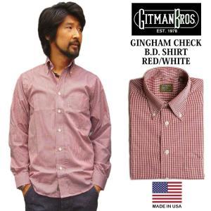 ギットマン ブラザーズ Gitman Bros. ギンガムチェック ボタンダウンシャツ レッド/ホワイト (米国製 GINGHAM CHECK B.D. SHIRT 長袖)|jalana
