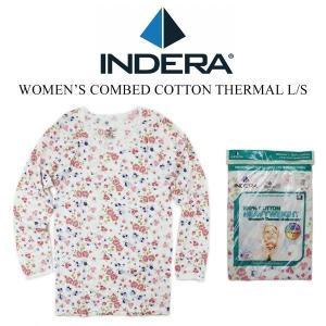 インデラミルズ INDERA MILLS WOMEN'S COMBED COTTONTHERMAL L/S ウィメンズ サーマルトップ 花柄2 (レディース 女性用 カットソー インナー )|jalana