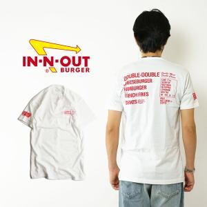 インアンドアウトバーガー 半袖 Tシャツ メニュー ホワイト (メンズ S-XXL In-N-Out Burger ご当地Tシャツ 海外買い付け)|jalana