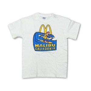 海外買い付け商品 マクドナルド 半袖Tシャツ 波乗りドナルド マリブ店限定 ホワイト■バンダナプレゼント■(McDonald's)|jalana