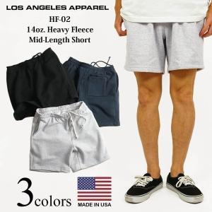 LOSANGELS APPAREL HF02 14オンス ヘビーフリース スウェットショーツ メンズ S-XL アメリカ製 米国製 14oz ヘビーオンス ロスアパ ショーツ|jalana