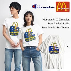 Tシャツ メンズ 半袖 マクドナルド 別注 チャンピオンボディ サンタモニカ店限定 波乗りドナルド ホワイト 大きいサイズ (McDonald's 海外買い付け商品)|jalana