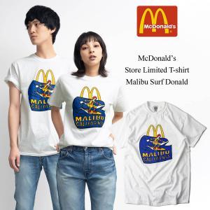 Tシャツ メンズ 半袖 マクドナルド 別注 チャンピオンボディ マリブ店限定 波乗りドナルド ホワイト 大きいサイズ (McDonald's 海外買い付け商品)|jalana