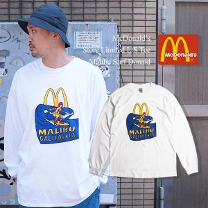 マクドナルド 長袖 Tシャツ 波乗りドナルド マリブ店限定 ホワイト BIG SIZE大きいサイズ メンズ レディース S-XXXL McDonald's ロンT 海外買い付け商品 jalana