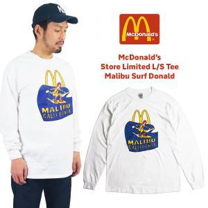 マクドナルド 長袖 Tシャツ 波乗りドナルド マリブ店限定 ホワイトメンズ レディース S-XXXL McDonald's ロンT 海外買い付け商品 jalana