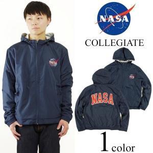 ナサ NASA オフィシャルグッズ カレッジエイト ジップアップ パーカー  ■バンダナプレゼント■(ウインドブレーカー COLLEGIATE メンズ)|jalana