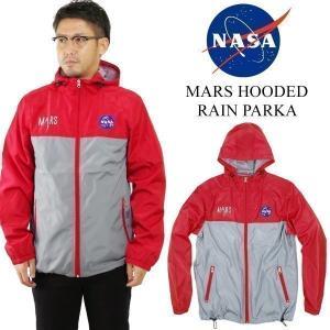 ナサ NASA オフィシャルグッズ マーズフーデッドレインパーカ(ウインドブレーカー MOUNEY TO MARS メンズ)|jalana