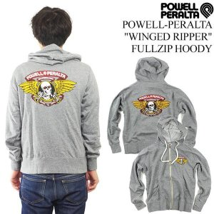 パウエル・ペラルタ POWELL-PERALTA ウイングリッパー ジップフード グレー (WINGED RIPPER ZIP HOODY スウェット パーカー)|jalana