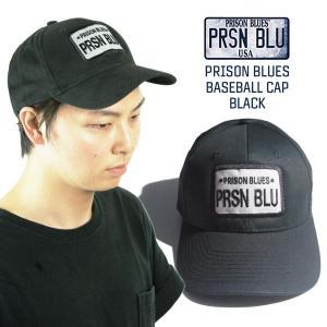 プリズンブルース PRISON BLUES ロゴベースボールキャップ 当店別注 ブラック ワークキャップ 帽子|jalana