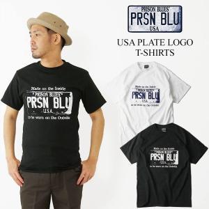 プリズンブルース PRISON BLUES 半袖 USA プレートロゴ Tシャツ(プリントTシャツ USA PLATE LOGO T-SHIRTS)|jalana
