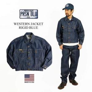 プリズンブルース PRISON BLUES デニムウエスタンジャケット リジッドブルー メンズ 別注 XS-XL アメリカ製 米国製 トラッカー ジージャン|jalana