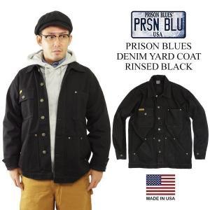 プリズンブルース PRISON BLUES デニムヤードコート 別注リンスドブラック(アメリカ製 米国製 カバーオール)|jalana