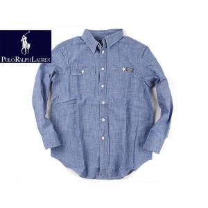 ポロ ラルフローレン POLO RALPHLAUREN ボーイズ シャンブレー ワークシャツ ライトブルー (米国流通品 長袖)|jalana
