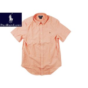 ポロ ラルフローレン POLO RALPHLAUREN ボーイズ 半袖オックスフォードシャツ オレンジ  (米国流通モデル BOYS S/S OX SHIRT BASKETBALL ORANGE)|jalana