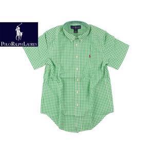 ポロ ラルフローレン POLO RALPHLAUREN ボーイズ 半袖 ポプリン ギンガムチェック シャツ グリーン  (米国流通モデル BOYS S/S POPLIN SHIRT)|jalana
