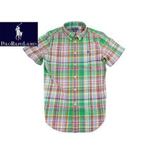 ポロ ラルフローレン POLO RALPHLAUREN ボーイズ 半袖ポプリンチェックシャツ グリーンマルチ (米国流通モデル BOYS S/S POPLIN SHIRT GREEN MULTI)|jalana