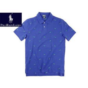 ポロ ラルフローレン POLO RALPHLAUREN ボーイズ シフリ ポロシャツ ブルー  (米国流通モデル 鹿の子 総柄 MONACO BLUE 半袖)|jalana