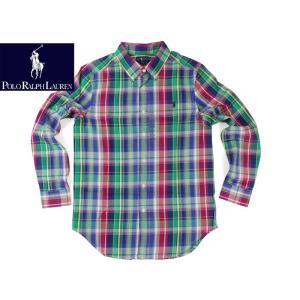ポロ ラルフローレン POLO RALPHLAUREN ボーイズ 40'Sコットンツイルシャツ ブルーマルチ(米国流通モデル 長袖)|jalana