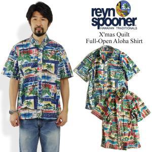 レインスプーナー REYN SPOONER 半袖 フルオープン アロハシャツ ハワイアンクリスマス (Hawaian X'mas クリスマス 限定柄)|jalana
