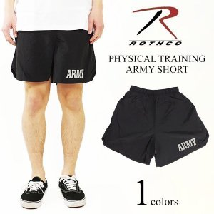 ロスコ ROTHCO フィジカルトレーニング アーミーショーツ ブラック (PHYSICAL TRAINING ARMY SHORTS ナイロンショーツ 水着 海パン)|jalana