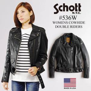 ショット SCHOTT 536W カウハイド レディース ダブルライダース ブラック(女性用 レザージャケット アメリカ製 米国製)|jalana