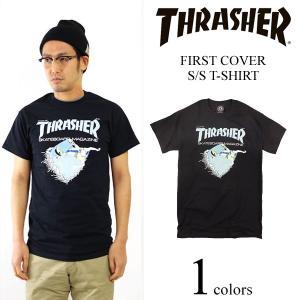 スラッシャー マガジン THRASHER 半袖Tシャツ ファーストカバー ブラック (FIRST COVER S/S T-SHIRT)|jalana